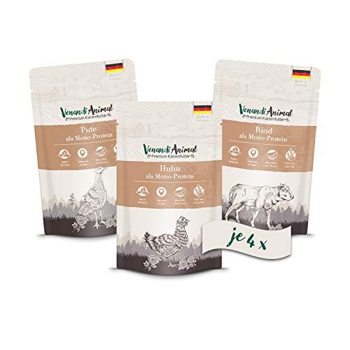 Venandi Animal Premium Nassfutter für Katzen, Probierpaket I, Huhn, Pute, Rind, 12 x 125 g, getreidefrei und naturbelassen, 1.5 kg