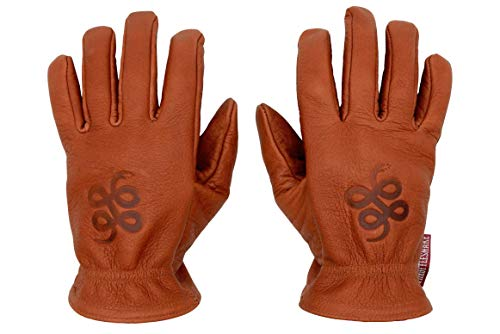 THROTTLESNAKE Guantes de Moto Vintage en Cuero de Búfalo Marrón Cognac con Sello de Serpiente ROAD ROAMER † Brown Old School Motorcycle Buffalo Leather Gloves with Badass Snake Embossi (L, Cognac)