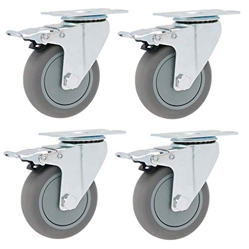 4X Caster Wheels,Swivel Castor Wheel,75MM/100MM/125MM,Gray Rubber,Heavy Duty Mounting Plates and Bearings (Color : Standard, Size : 125mm)