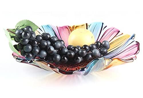 JUNYFFF Frutero Vidrio, Plato Frutas Colorido Cristal Fruta Plato Decorativo para Encimera...