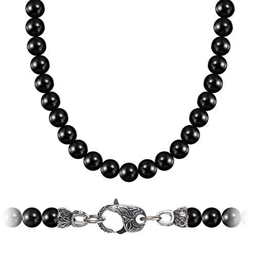 WESTMIAJW 8mm Collier de Perles Onyx Noir pour Homme avec Pierres Précieuses Naturelles, Bijoux en Cristal de Guérison 60cm - Livré avec Boîte Cadeau
