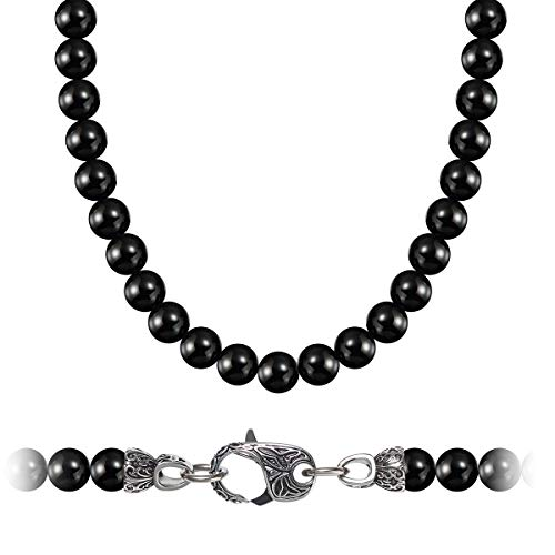 MASARWA WESTMIAJW Mens Black Natural Onyx Beads Necklace Chain 8mm Gemstones Jewellery 50cm