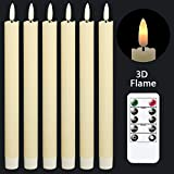 GenSwin Flameless Ivory Taper Candles Flickering with 10-Key Remote, Battery Operated Led ...