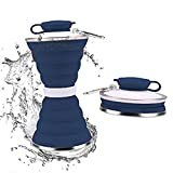 DARUNAXY Collapsible Foldable Water Bottle - Portable Reusable Leakproof Silicone Sports Travel Water Bottle for Outdoor, Gym, Hiking, Cycling with Carabiner (Seaside)