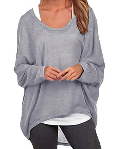 ZANZEA Damen Lose Asymmetrisch Jumper Sweatshirt Pullover Bluse Oberteile Oversize Tops Grau EU 42-44/Etikettgröße L
