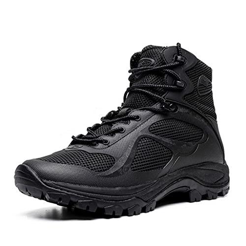 LANTUI Hombre Botas Militares, Botas Ligeras y Transpirables para el Desierto, Antideslizantes, duraderos, para Escalar, cómodos Zapatos de Trabajo de Verano,Black-38