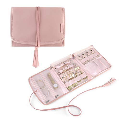 BAGSMART Travel Jewelry Organizer Case Foldable Jewelry Roll with Tassel for Journey-Rings, Necklaces, Earrings, Bracelets, Pink