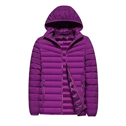 FYMDHB886 Dames Lichtgewicht Ski Down Jacket Winter Hooded Korte Alinea Jas Elastische Winddichte Manchet Vullen met Katoen L-4XL, XL, Paars