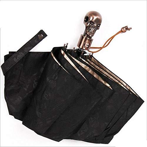 Sonnenschirm Regenschirm Creative Devil Skull Handle Umbrella Vollautomatisch Männlich 3 Faltbare Uv-Sonne Regen Männlich Winddichte Regenschirme Regenbekleidung