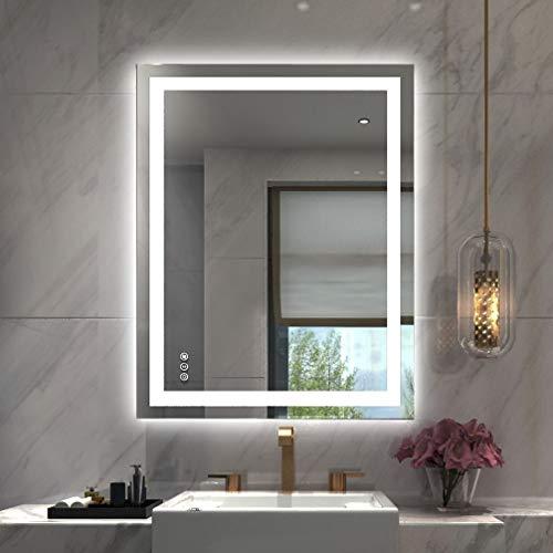 Amorho 60x90cm Rectangular Espejo Baño Espejo de Pared Espejo Colgante Dormitorio Función Antivaho con Luz LED Interruptor Táctil 5 Temperatura de Color Ajustable