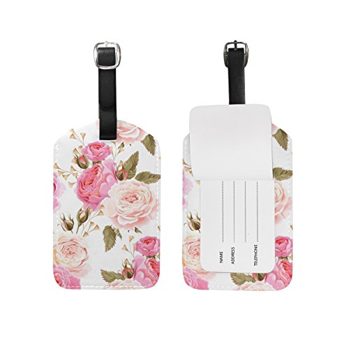 Cooper Girl Pink and White Rose Luggage Tag Travel ID Label Leather for Baggage Suitcase 1 Piece