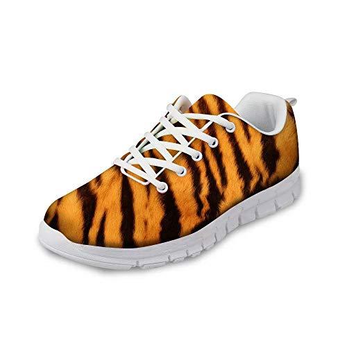 Xinind Fashion Tiger Print Pattern Sneakers for Women Lightweight Shoes Road Running Walking Mesh Sport Shoe