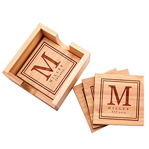 Housewarming Gift Personalized Coasters Set of 4 wHolder - Custom Bamboo Coaster for Drinks Wedding for Couple Bridal Shower Coaster Set with Holder 10
