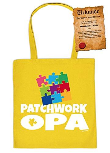 Patchwork Opa - Stofftasche Geschenktasche Einkaufstasche Henkeltasche mit Urkunde