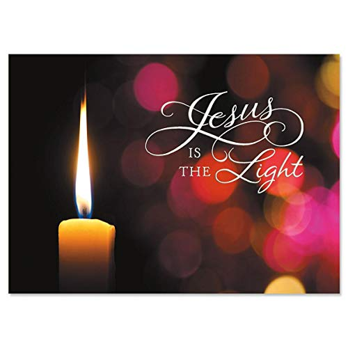 Religious Christmas Card 9 Pack ~ God's Gifts Guide and Light Your Way, Jesus is the Light (5' x 7'; White Envelopes)