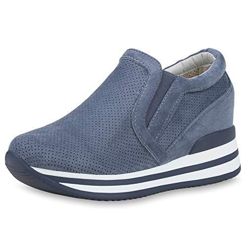 SCARPE VITA Damen Plateau Wedges Keilabsatz Schuhe Slip On Freizeitschuhe Wedges Cut Out Turnschuhe 192410 Dunkelblau Blue 40
