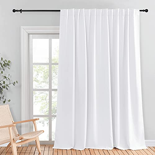 NICETOWN Sliding Door Curtains for Patio, Wide Width Drape, Vertical Curtain for Patio Door Doorway Dining Foyer Office Cafe Backdrop (White, Width 100 inches, Length 95 inches, Sold Individually)