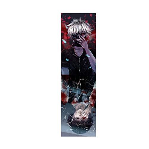 Griptape 33 Zoll / 48 Zoll Short Board Longboard Skateboard Anime Tokyo Ghoul Kaneki Ken Spiegel Grip Tape (Color : Positive, Size : 48 inch)