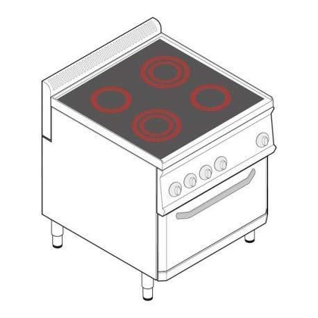 Fourneau avec four ventilé électrique GN 1/1-4 plaques vitrocéramiques - gamme 700 - Tecnoinox