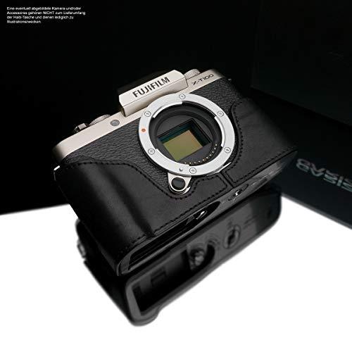 GARIZ Design cameratas voor Fujifilm X-T100 camera | fototas van Italiaans leer | tas voor Fuji FinePix XT100 | systeemcamera tas: zwart | leren tas: Black XS-CHXT100BK