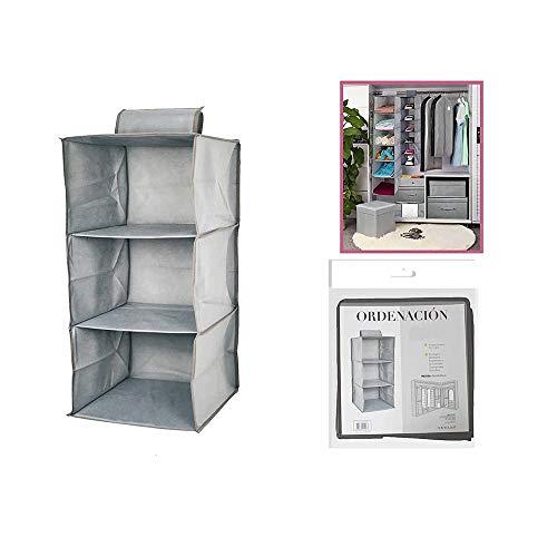 Dabuty Online, S.L. Organizador para Colgar en el Armario u hogar con 3 estantes Color Gris. Medidas 30 x 30 x 60 cm. Zapatero, Organizador de Ropa.