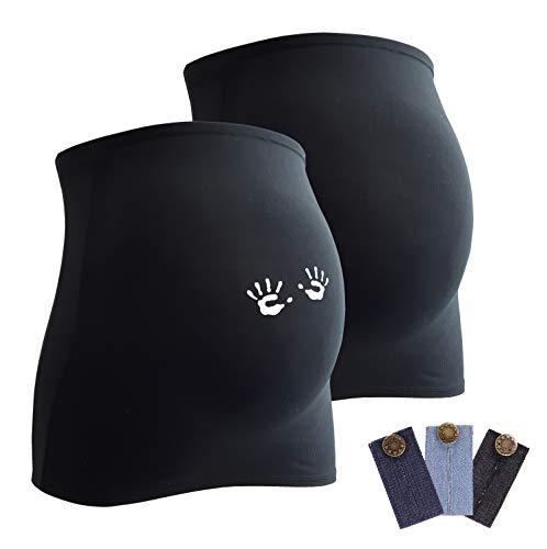 Mamaband Lot de 2 bandeaux de grossesse pour la boule de bébé 1 x Uni 1 x mains – Chauffe-dos et extension pour les femmes enceintes – Mode de grossesse élastique - Noir - Medium