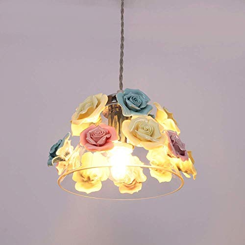 miwaimao Lámpara de techo de personalidad, lámpara de araña de flores de color, dormitorio, restaurante, cafetería, pasillo pasillo 22 22 17 cm Macaron cerámica de vidrio decoración