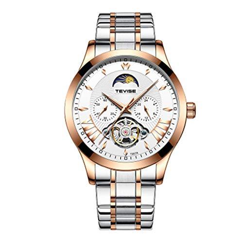 joyMerit Negocio de Reloj de Pulsera Mecánico de Acero Inoxidable de Moda para Hombre - Blanco + Oro