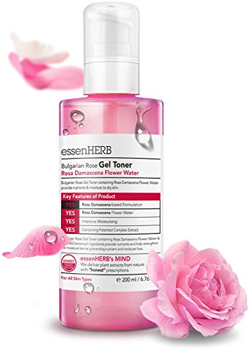 ESSENHERB BULGARIAN ROSE GEL TONER, Providing intensive nutrition and moisture to dry skin, Whitening and Anti-Wrinkle. (200ML)