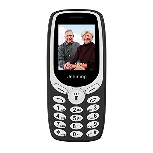 Ushining Teléfono Móvil para Personas Mayores, Teléfono Movil con Teclas Grandes Fácil de Usar Teléfono Celular con Llinterna, Cámara, Radio FM, Doble SIM, Pantalla de 1,77 Pulgadas - Negro