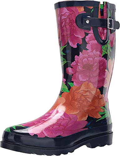 Western Chief Women's Printed Tall Rain Boot Shoe, Bold Blossom