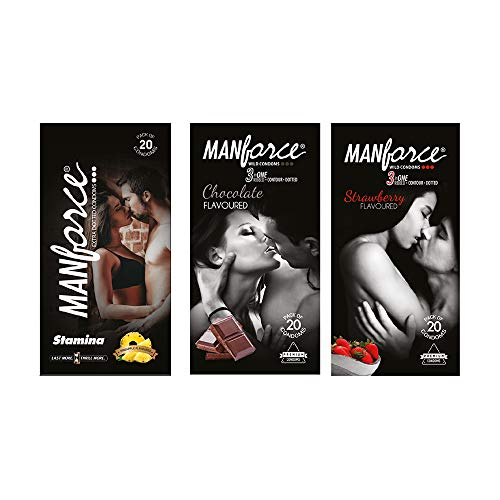 Manforce Wild Condom Pack Different Flavours, Pineapple Strawberry Chocolate (3 X 20 Pcs)