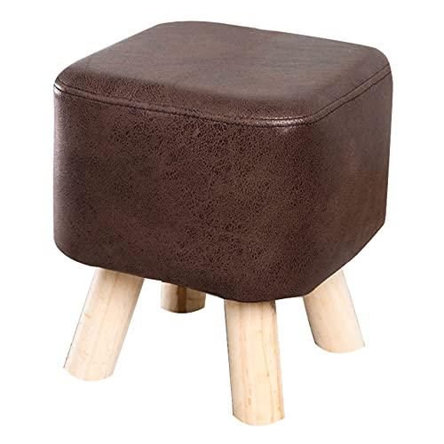 aedouqhr Taburete bajo de Moda, reposapiés pequeño con tecnología tapizado en Tela y Madera Maciza Resistente para sofá, Escritorio, Oficina, Sala de Estar (marrón/Gris)