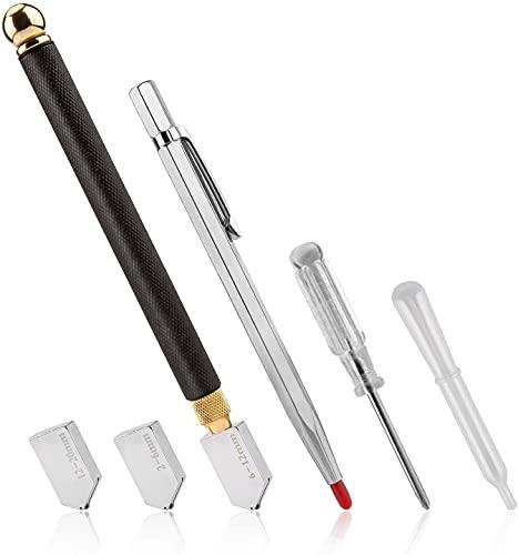 SAVITA 6 Piezas Juego de Herramientas para Cortar Vidrio Metal Bolígrafo para Cortador Azulejos de Vidrio, con 2 Cuchillas de Bonificación, y Cuentagotas de Aceite, y Destornillador, 2 mm-20 mm