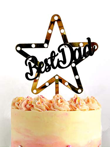 Happy Father's Day Cake Topper Cake topper Acrylic Mirror Cake topper Decorative Party Cake Decoration for Father's Day(Big Star-Best-Dad)
