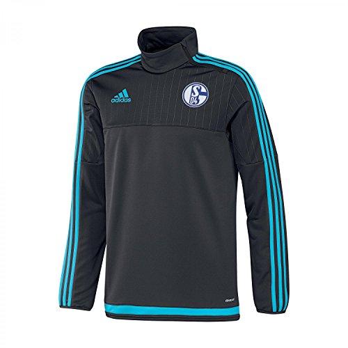 adidas Felpa Uomo FC Schalke 04Training, Uomo, Sweatshirt FC Schalke 04 Training, Night Grey/Super Cyan, XL