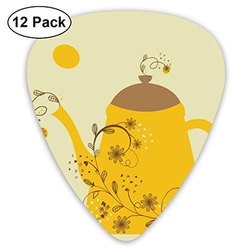 Houity Gitarrenplektren mit Teekanne und Blumen-Zweig, 12-teiliges Gitarren-Paddel-Set aus umweltfreundlichem ABS-Material, geeignet für Gitarren, Quads, etc.
