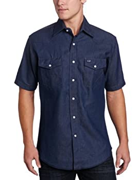 Wrangler Men s Authentic Cowboy Cut Work Western Shirt Blue Large