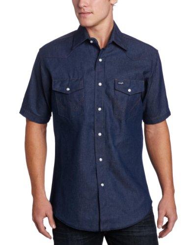 Wrangler Herren Westernhemd mit kurzen Ärmeln und Druckknöpfen, blau, X-Groß