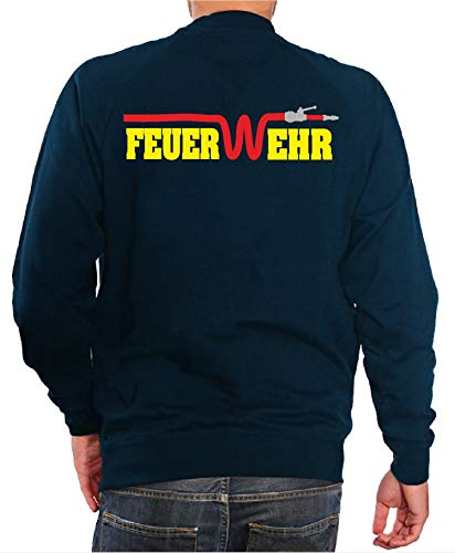 FEUER1 Sweat-Shirt Bleu Marine, feu W-EHR avec Tuyau Rouge (Jaune/Argent/Rouge) - Bleu - Medium