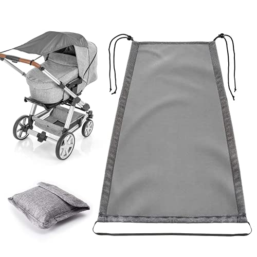 Universal Sun Shade for Pram,Pram Sun Shade with UV Protection Cover 50+ Waterproof and Up and Down Slide Function, Baby Stroller Sun Cover/Parasol for Pushchair and Carrycot(Grey)