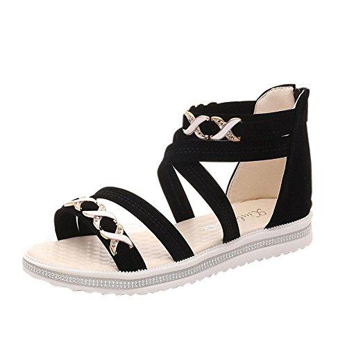 Ansenesna Sandalen Damen Sommer Flach Bunt Boho Vintage Schuhe Offen Reißverschluss Stoff Comfort Sommerschuhe (38, Schwarz)