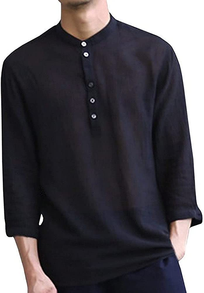 CHUANGFU Mens Linen 3/4 Sleeve Henley Shirt Long Sleeve Cotton Beach Yoga Men Slim Casual Shirt Retro Men's Shirt