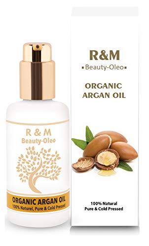 R&M Arganöl - Premium Argan Öl Für Gesicht, Körper, Haar Und Vieles Mehr - 100% Bio & Fairtrade Aus Marokko - Für Eine Schönere Haut, Ein Reines Gesicht Und Glänzendes Haar - 100ml Pump-Flasche