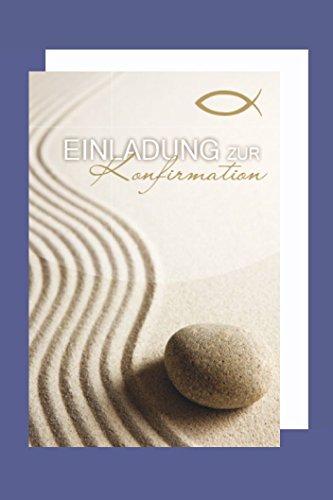 AvanCarte Konfirmation Einladungen Karte 5er Set Wellen Sand Stein B6