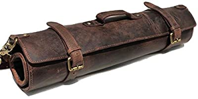 Genuine Buffalo Leather Knife Roll Set Chef's Knife Holder Cutlery Sheath Artist Case Organizer Storage bag Travel Friendly Christmas Black Friday Cyber Monday Gift for Men & Women from