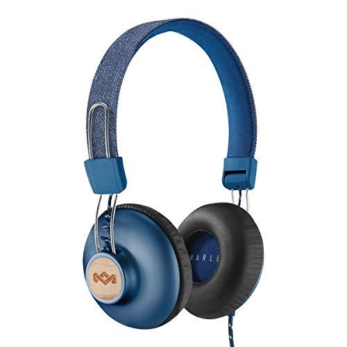House of Marley Positive Vibration 2 Cuffie Over Ear con Microfono Incorporato, Driver da 40 mm, Cuffia Pieghevole con Lungo Cavo, Materiali Sostenibili, Denim