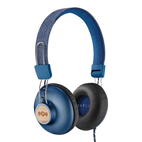 House of Marley Positive Vibration 2 Cuffie cablate, con Microfono, Diver da 40mm, Design Confortevole On-Ear, Pieghevole, Blu/Legno