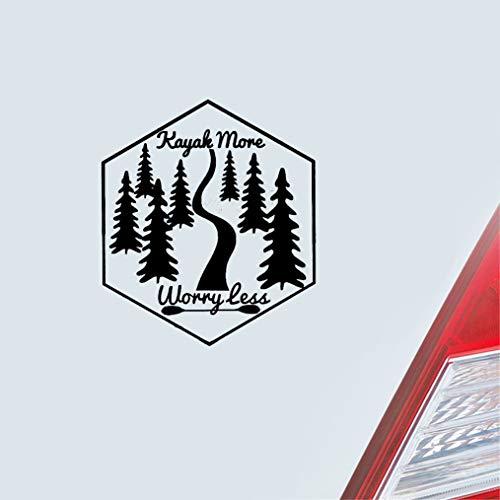Kayak More Worry Less Quote sticker, autobumper, carrosserie, raam, deur, achterruit, 15 x 17 cm