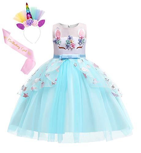 Jurebecia Vestido Princesa nia Disfraz de Princesa Unicornio Nia Hada arcoris para nias con Vestido de tut y Accesorios Fiesta Cosplay